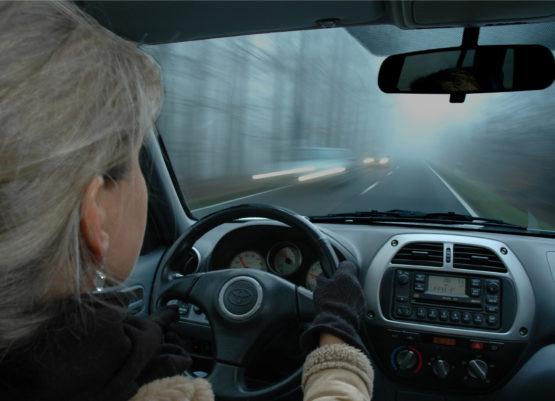 Nebel Glätte Wildwechsel Auto Fahren Im Herbst Acv